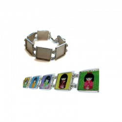 Bracelet square 20x20mm rhodim x1pc