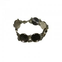Bracelet round 16x16mm rhodium x1pc
