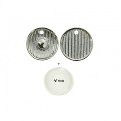 Click'on setting for bases 18mm, rhodium + clear domes 5pcs
