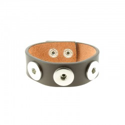 Triple Click'on base leather bracelet 20mm brown