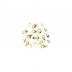 Assort. Carabiner clasps & tags Gold (10 pcs)