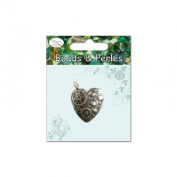 Card of 1 pendant steampunk heart 35x30mm ant silver°°