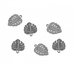 Mini charm 20pcs Silver Leaf 3