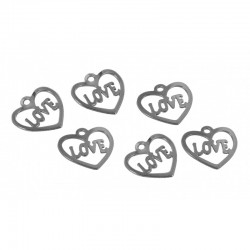 Mini charm silver - Love heart (20 pcs)