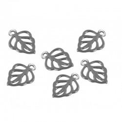 Mini charm silver - Leaf 2 (20 pcs)