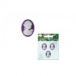 Oval cameo lady 18x25mm white/purple 3pcs