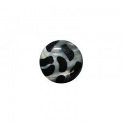 MOP round 25mm printed black on grey 6pcs