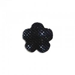 Flower cabochon 20mm 'Shine' black 6pcs