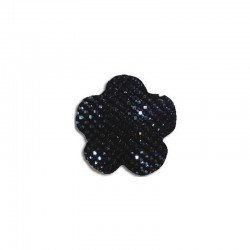 Flower cabochon 20mm 'Shine' black 6pcs