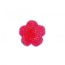 Flower cabochon 20mm 'Shine' hot pink 6pcs
