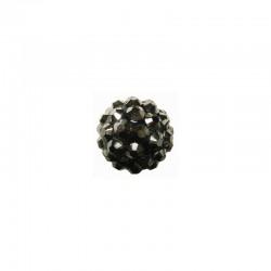 string resin rhinestone beads 12mm hematite 8pcs°