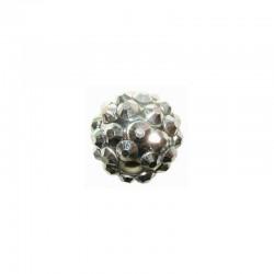 string resin rhinestone beads 16mm silver 6pcs