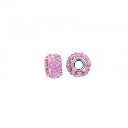 Pandora style rhinestone bead 15x9mm 3pcs pink°