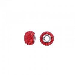 Pandora style rhinestone bead 15x9mm 3pcs red°