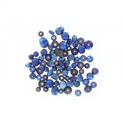 Assort. Matte metallic beads 40g Blue