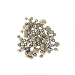 Assort. Metallic matte beads 40g Gold