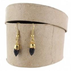 Gem pendant with natural stone black