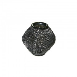 Wire mesh oval 19x16mm, hole 6mm hematite, x4pcs