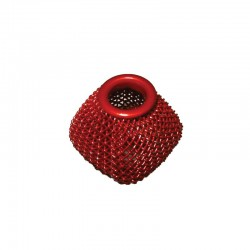 Wire mesh oval 19x16mm, hole 6mm red, x4pcs