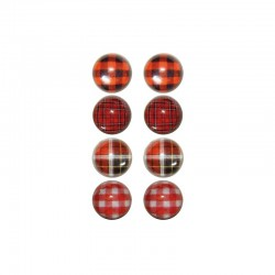 Box with 8 printed domes 16mm tartan design