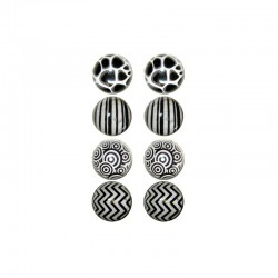 Box with 8 printed domes 16mm black and white design