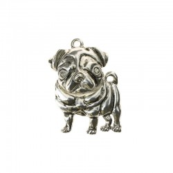 Large bulldog 45x28mm antique silver 1pc