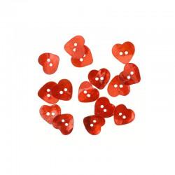 MOP heart buttons d.15mm red 14pcs