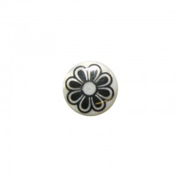 Printed round shell 15mm large black flower x 12pcs