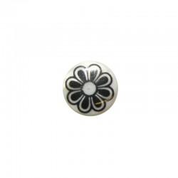 Printed round shell 15mm large black flower x 12pcs