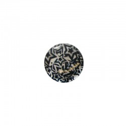 Printed round shell 15mm black white stars x 12pcs