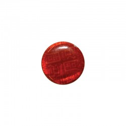 Printed round shell 15mm Chinese red x 12pcs