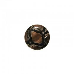 Printed round shell 15mm brown snake x 12pcs