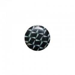 Printed round shell 15mm black/white geometric x 12pcs