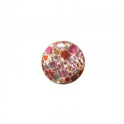 Printed round shell 15mm pink Liberty x 12pcs
