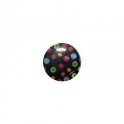 Shell cabochon 16mm printed dots on black x6pcs