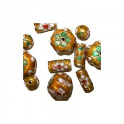 Assort. Cloisonne beads gold (12 pcs)