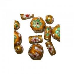 Assort. Cloisonne beads gold (12 pcs)