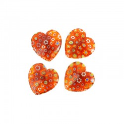 Flat heart millefiori 22x22x8mm 4pcs dark red