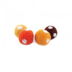 Boules de laine percées pois 8pcs.20mm ass. jaune-orange