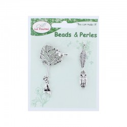 Card 4 charms - Forest set ant. Silver