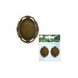 Antique oval frame 22mm x 30mm cameo Bronze (2 pcs)