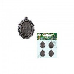 Antique oval frame 13mm x 18mm cameo Antique silver (4 pcs)