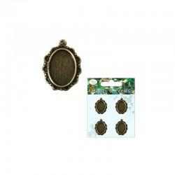 Antique oval frame 13mm x 18mm cameo Bronze (4 pcs)