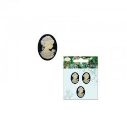 Oval cameo lady 18x25mm ivory/black 3pcs
