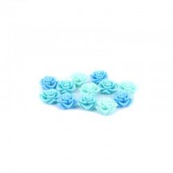 Matt roses 16mm +hole 3 tone turquoise x12pcs