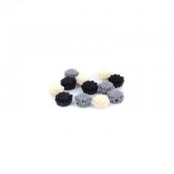 Matt flowers 12mm +hole 3 tone black/grey/white x12pcs