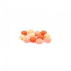 Matt flowers 12mm +hole 3 tone orange x12pcs