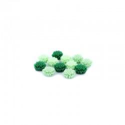 Matt flowers 12mm +hole 3 tone greens x12pcs