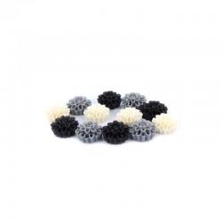 Matt flowers 16mm +hole 3 tone black/grey/white x12pcs