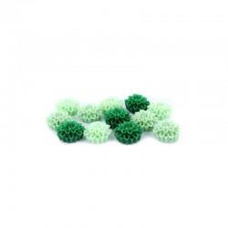 Matt flowers 16mm +hole 3 tone greens x12pcs